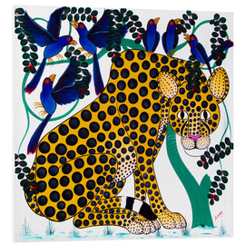Quadro em PVC  Cheetah seeks protection under the bird tree - Omary
