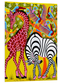 Quadro em PVC  Zebra with Giraffe in the bush - Omary