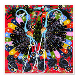 Póster Premium  Peacock in courtship - Stephan