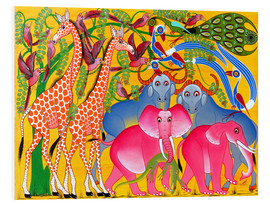 Quadro em PVC  Groups of animals in the bush - Omary
