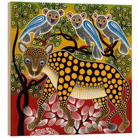 Quadro de madeira  Cheetah in the bush - Mzuguno