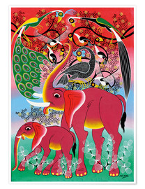 Póster Premium  Red Elephant with peacock - Noel