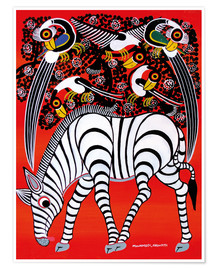 Póster Premium  The zebra with bird couple - Chiwaya
