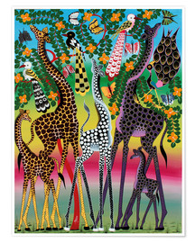 Póster Premium  Giraffes in African colors - Maulana