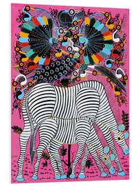 Quadro em PVC  Zebra couple with magnificent flock of birds - Lewis