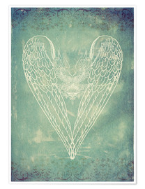 Póster Premium Vintage Winged Heart
