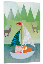 Quadro em PVC  Cute Owl and Fox Boat - GreenNest
