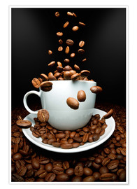 Póster Premium Falling coffee beans cup
