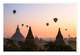 Póster Premium  Balloons and temples, Bagan - Matteo Colombo