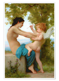 Póster Premium  A young girl defending herself against Eros - William Adolphe Bouguereau