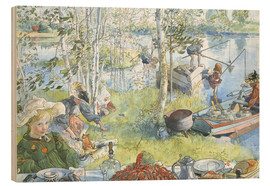 Quadro de madeira  Opening of the crab fishing season - Carl Larsson
