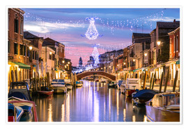Póster Premium  Canal in Venice at Christmas - Matteo Colombo