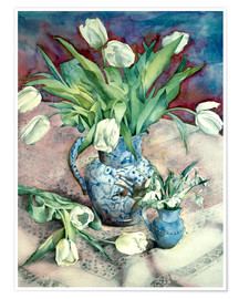 Póster Premium  Tulips and Snowdrops - Julia Rowntree