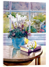Quadro em acrílico  Flowers and book on table - Julia Rowntree