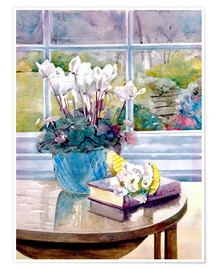 Póster Premium  Flowers and book on table - Julia Rowntree