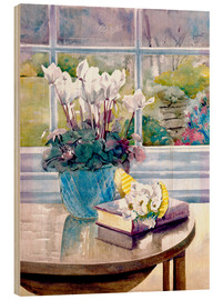 Quadro de madeira  Flowers and book on table - Julia Rowntree