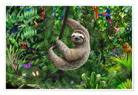 Póster Premium Sloth in the jungle