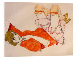 Quadro em acrílico  Wally in a red blouse with knees lifted up - Egon Schiele