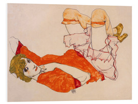 Quadro em PVC  Wally in a red blouse with knees lifted up - Egon Schiele
