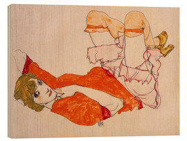 Quadro de madeira  Wally in a red blouse with knees lifted up - Egon Schiele