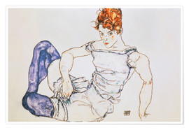 Póster Premium Seated Woman with violet stockings