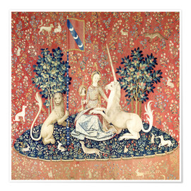 Póster Premium The Lady and the Unicorn: The sense of sight