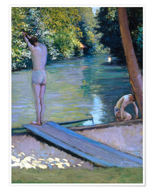 Póster Premium  Bathers on the banks of the Yerres - Gustave Caillebotte