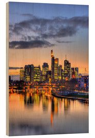Quadro de madeira  Frankfurt skyline reflected in the Main - HADYPHOTO