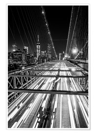 Póster Premium  Traffic on Brooklyn Bridge - NYC (monochrome) - Sascha Kilmer
