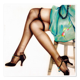 Póster Premium  Black Stockings - Alberto Vargas