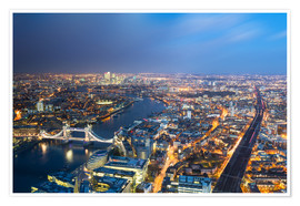 Póster Premium  Cityscape of London at night - Circumnavigation
