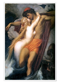 Póster Premium  The Fisherman and the Syren - Frederic Leighton