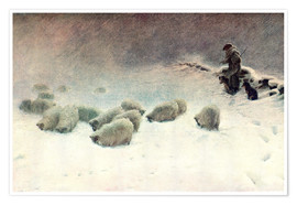 Póster Premium  The Cheerless Winter's Day - Joseph Farquharson