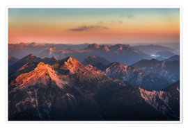 Póster Premium  Alps Panorama from Zugspitze at Sunrise - Andreas Wonisch