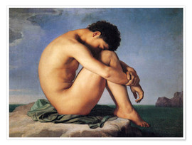 Póster Premium  Young man beside the sea - Hippolyte Flandrin