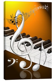 Quadro em tela  dancing notes with clef and piano keyboard - Kalle60