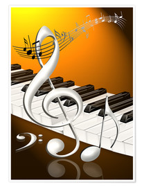 Póster Premium  dancing notes with clef and piano keyboard - Kalle60