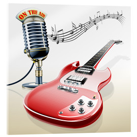 Quadro em acrílico  Electric guitar with microphone and music notes - Kalle60