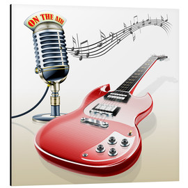 Quadro em alumínio  Electric guitar with microphone and music notes - Kalle60