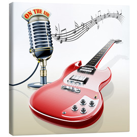 Quadro em tela  Electric guitar with microphone and music notes - Kalle60