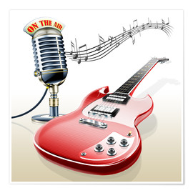 Póster Premium  Electric guitar with microphone and music notes - Kalle60
