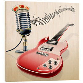Quadro de madeira  Electric guitar with microphone and music notes - Kalle60
