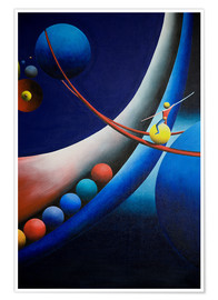 Póster Premium Tightrope walk among planets