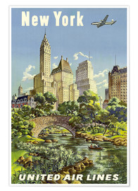 Póster Premium  New York United Airlines - Travel Collection