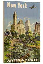 Quadro de madeira  New York United Airlines - Travel Collection