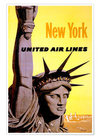 Póster Premium  New York United Air Lines - Travel Collection