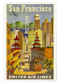 Póster Premium  San Francisco United Airlines - Travel Collection