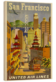 Quadro de madeira  San Francisco United Airlines - Travel Collection
