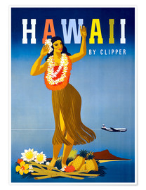Póster Premium  Hawaii by Clipper vintage travel - Travel Collection