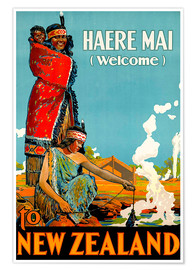Póster Premium  Haere Mai welcome to New Zealand - Travel Collection